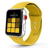 Iyou für Apple Watch Armband 38mm/42mm, Weiches Silikon Ersatzarmband Classic Sportarmband für iWatch Apple Watch Series 3/2/1, Edition, Nike + (42MM S/M, Gelb)
