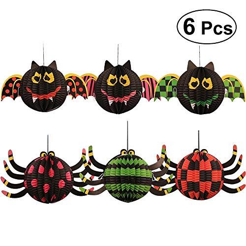 BangShou Halloween Lampions Lampe Set 3D-Dekorationen mit LED-Licht Hängende Halloween Party Decor - Bat, Spider, Skelett, Kürbis (6pcs 3D Spider&bat)