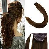 LaaVoo 14zoll 100% Remy Echthaar Extensions Clip in Zopf Easy Fit Haarteil Schokoladenbraun #4 70Gramm/Paket Clip in Haarverlangerung Set Glatt