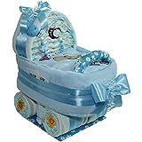 Großer Windelwagen Baby Boy Geschenk zur Taufe oder Geburt Windeltorte (Schnullerkette mit Name)