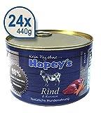 Hopey's Nassfutter Rindfleisch mit hohem Fleischanteil 98% getreidefrei für erwachsene Hunde 24 x 440g Dosen