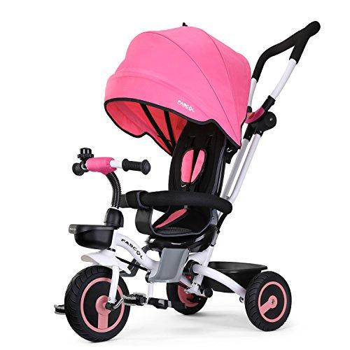 Fascol Tricycle Evolutif Velo Bébé Pliable Poussette avec Canne et Roues Silencieuses pour Enfant 6 Mois à 5 Ans, Bleu