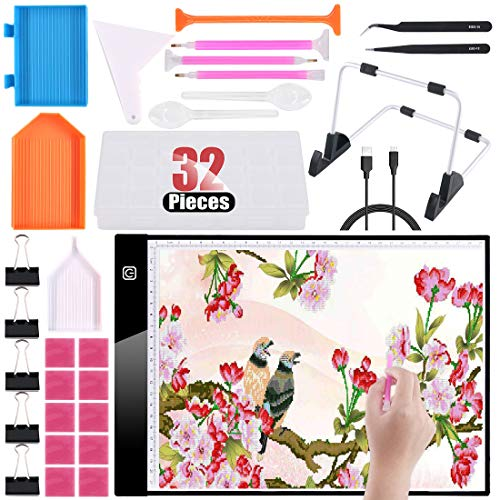 Hilitchi 32 Stück A4 Light Pad Light Board Tracing Light Box Light Tablet, dimmbar Light Board Kit w/Diamond Painting Tools, Stand Holder and Clips, Apply to DIY 5D Diamond Drawing