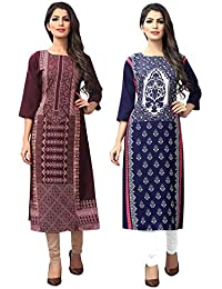 1 Stop Fashion Women's Crepe Straight Kurta (Pack of 2)