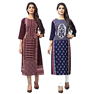 1 Stop Fashion Women's crepe straight Kurta (Pack of 2)