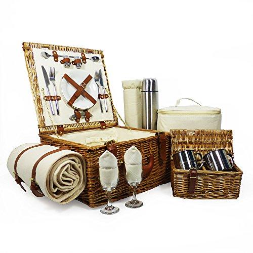 Luxus Picknickkorb 'Harpenden' Für 2 Personen Mit Zubehör - Perfektes Geschenk Zum Geburtstag, Hochzeit, Jubiläum, Pensionierung