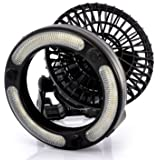 Portable fan with LED lamp - ideal or camping - Battery operated mini air cooler with light