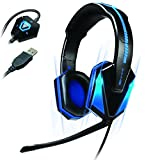 Verbessern Blau LED PC Gaming Headset gx-h1 mit Upgraded Virtual 7.1 Surround Sound und Verstellbarem Mikrofon – Funktioniert mit Evolve, League of Legends, Dota 2 und Viele Mehr.