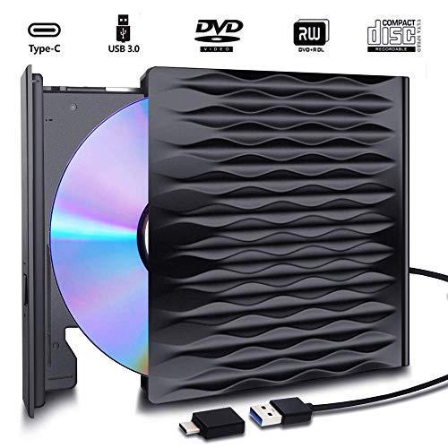 H&L Externes CD DVD Laufwerk Brenner USB 3.0 2.0 1.0 Type C mit Hilfs Stromanschluss, Tragbar CD DVD VCD Leser Player Drive für Laptop Desktop PC Mac OS, MacBook Air Pro, Windows 7/8/10/XP/VISTA