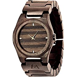 MATOA Gili - Handmade wooden watch from reclaimed Macassar Ebony wood | Unisex woodwatch for men & women | Special giftbox from Mahogany wood