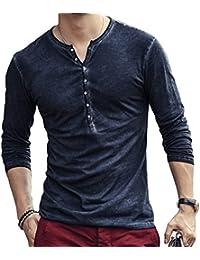 4c4059b174 Hombre Cuello En V Camisetas Manga Larga Botón En Slim para Camisa Ocio  Color Sólido La