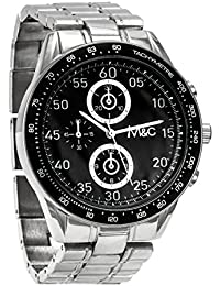 Reloj M&c Ferretti FT14801, para hombre, cronógrafo de acero inoxidable plateado, esfera negra