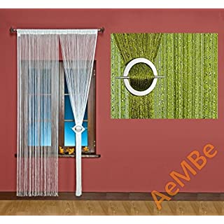 AeMBe - Fadenvorhang Fadengardine Türvorhang - 150cm X 250cm - Grün / Silberfaden - Höchste Qualität