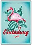 Flamingo Einladungskarten zum Geburtstag ausgefallene Einladung für Kinder & Erwachsene und Mädchen und Junge Kindergeburtstag Hawaii Uraub Kribik Vogel Rosa Mint