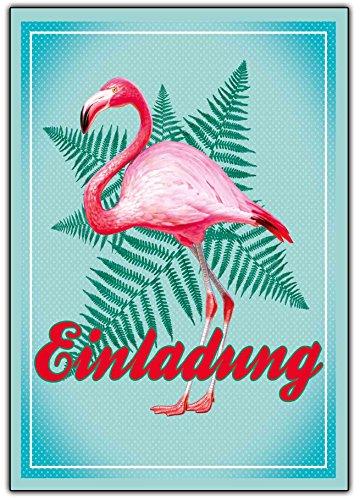 (Flamingo Einladungskarten zum Geburtstag ausgefallene Einladung für Kinder & Erwachsene und Mädchen und Junge Kindergeburtstag Hawaii Uraub Kribik Vogel Rosa Mint)