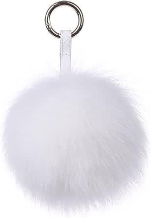 Ferand Echter Pelz-Ball Schlüsselanhänger, Fuchs Taschenanhänger Pelzbommel, Pelz-Anhänger für Handtaschen, Rückspiegel im Auto
