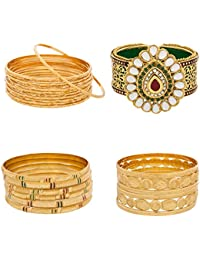 The Luxor Combo Of American Diamond And Pearls Gold Plated Bangles And Bracelet Kada Pack Of 24