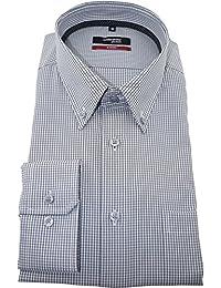 Seidensticker Herren Langarm Hemd Modern Regular Fit Button-Down-Kragen BD Patch7 grau / weiß kariert 112276.32