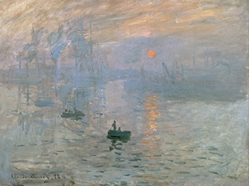 Artland Poster Kunstdruck oder Leinwand-Bild Wandbild fertig aufgespannt auf Keilrahmen Claude Monet Impression Sonnenaufgang 1872 Landschaften Gewässer Malerei Blau