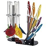 Set 12 pezzi coltelli rivestiti in ceramica e utensili da cucina in gomma rigida RL-KT12 con ceppo e supporto