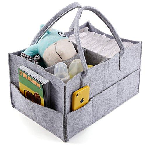 Anladia Tragbare Baby-Organizer-Tasche mit 3 Fächern, für Windeln, Flasche, Wickeltasche, mit Trennwand, Aufbewahrungsbox, Handtasche, Grau