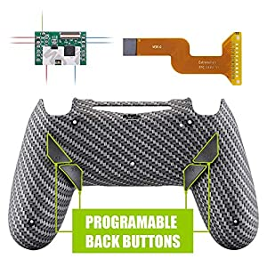 eXtremeRate Dawn Programmierbares Remap Kit für PS4 Controller mit Mod-Chip, neu gestalteter Rückseite Hülle Gehäuse Shell und 4 Rückseiten Knöpfe-für Playstation 4 JDM 040/050/055(Carbon Fiber)