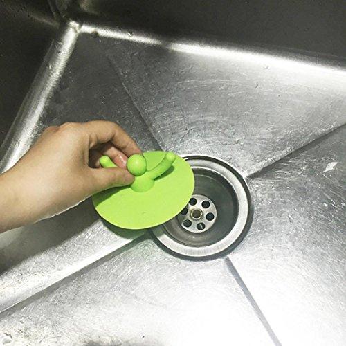 Sujing Silikon-Wanne Duschablauf Stopper Badewannenabdeckung Silikonschutz Gute Griffigkeit Haarfänger grün (Delta Bronze-badewanne Drain)