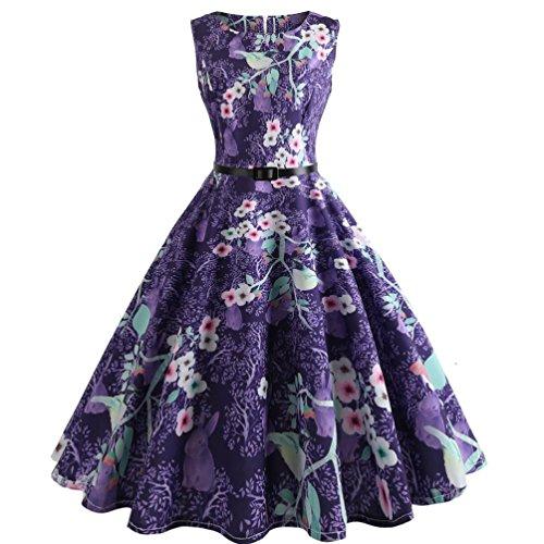 f Elegante Damen Mädchen Frauen Vintage Bodycon Sleeveless Beiläufige Abendgesellschaft Tanz Prom Swing Plissee Retro Kleider(Violett 1, EU-42/CN-XXL) (Second Hand Kostüme)