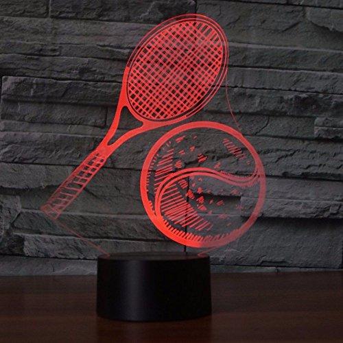 Kreative 3D Tennis Nacht Licht Lampe USB Power 7 Farben Amazing Optical Illusion 3D LED Lampe Formen Kinder Schlafzimmer Geburtstag Weihnachten Geschenke -