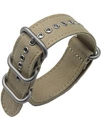 correas de reloj de una sola pieza estilo de la NATO exótica lienzo 20mm de color caqui lujo de los hombres exquisitos correas textiles