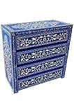 Orientalische Kommode Sideboard Adam 90cm Blau Weiß   Orient Vintage Kommodenschrank orientalisch handbemalt   Indische Landhaus Anrichte aus Holz massiv   Asiatische Möbel aus Indien