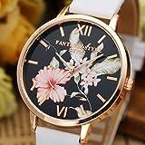 JSDDE Uhren,Vintage Klassische Blumen Damen Armbanduhr Basel-Stil Quarzuhr PU Lederband Rosegold Analog Quarzuhr(Weiss) -