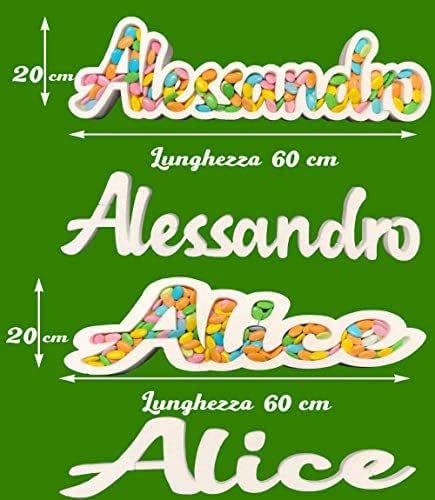 Contenitore Portaconfetti in Polistirolo CON NOME PERSONALIZZATO CORSIVO - Altezza 15/20 cm – Lunghezza 60 cm