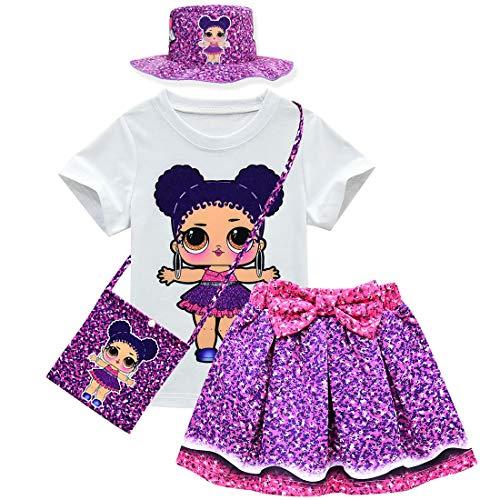 Süßes 2 Kostüm Teiliges Tanz - dgfstm Baby Mädchen Sommer süße Schleife Rock + T-Shirt + Tasche + Hut 4-teilig Gr. One Size, Stil 4