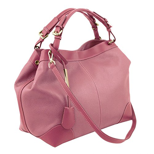 Tuscany Leather Ambrosia Borsa in pelle morbida con tracolla Blu scuro Rosa Antico