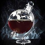 Homezone Large Vintage Glass World Globe Whisky Decanter Wine Carafe On Cradle. 700ml...