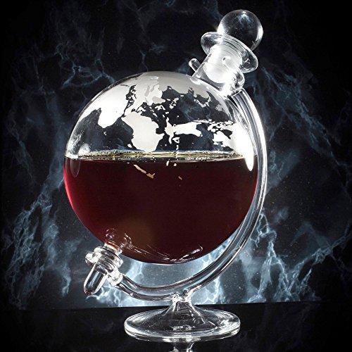 HomeZone® Dekantiergefäß für Whisky / Wein, groß, Globus-Design, Vintage-Optik Fassungsvermögen von 700ml, handgeblasenes Glas, perfekt als Geschenk für sie / ihn.