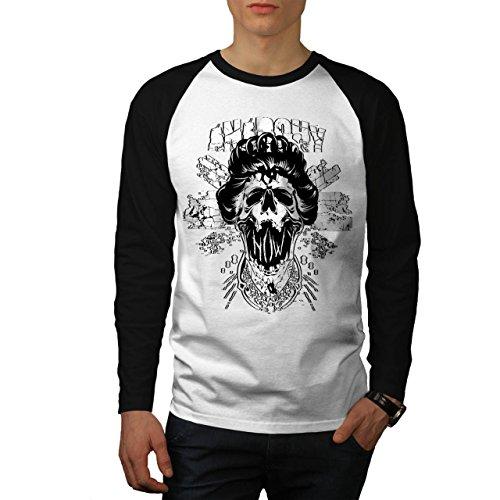 Anarchie Schädel Königin königlich Herren NEU Weiß (Schwarz Ärmel) L Baseball lange Ärmel T-Shirt | Wellcoda