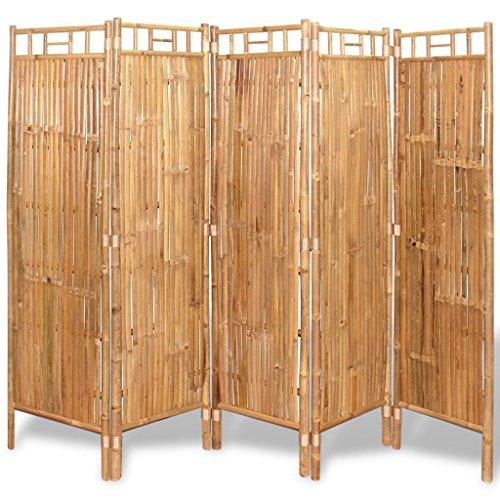vidaXL 243716 5-Fach Bambus Raumteiler Paravent Trennwand Sichtschutzwand 200x160 cm, One Size