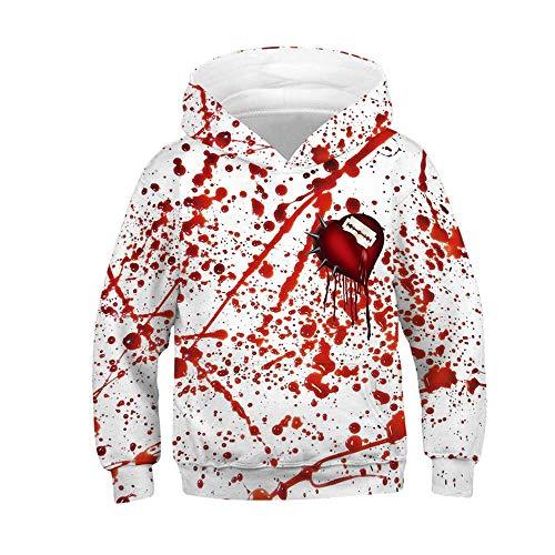 KIDSHOODIE Kinder Hoodie 3D-Druck-Blut-Tropfen Halloween Pullover Herbst Jacke Kind-Jungen-Mädchen-Kleidung Baseball Tragen Mantel Mit Kapuze C-135cm-140cm(M) -