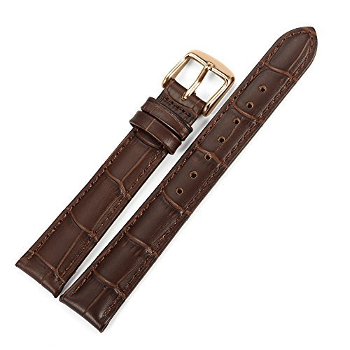 iStrap 18mm Echt Rindleder Uhrenarmbänder Uhrband Watch Bracelet mit Roségold Edelstahl Dornschließe Baun
