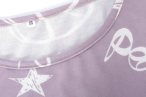 Hibote Chemisier Femme, Automne Hiver Basique Manches Longues Chemise Col Rond Pull Coeur de Bande Dessinée Chemise Imprimé Casual Lâche T-Shirt Sweat Tops Rose