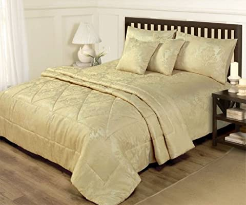 KING SIZE DUVET COVER & THROW SET - 6 PIECE JACQUARD GOLD BED SET