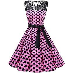 Bbonlinedress Vestido Mujer Corto Fiesta Boda Encaje Sin Mangas Pink Black BDot M