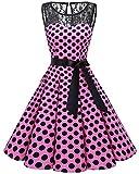 Bbonlinedress Vestido Mujer Corto Fiesta Boda Encaje Sin Mangas Pink Black BDot XS
