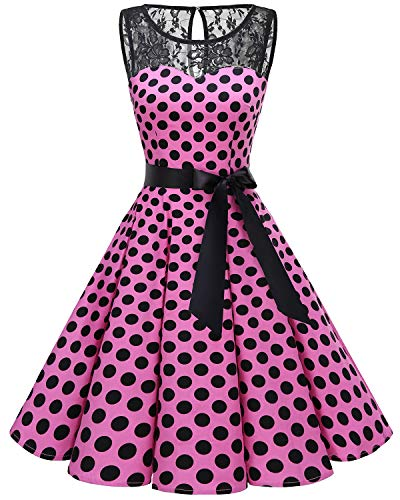 Bbonlinedress Donna 1950 Vintage Senza Maniche Rockabilly Cocktail Swing  Dress Pink Black BDot S ea9555f7b32