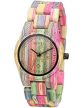 [Gesponsert]BEWELL Damen Holzuhr Holz Bunt Damenuhren Uhren Kleine Armbanduhr Japanisches Quarzwerk Fashion Stil Uhr