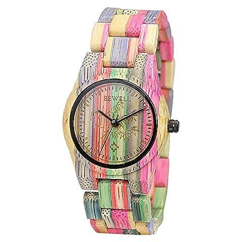 BEWELL Bamboo Wooden Watch Women Wrist Watches Handmade Natural Colorful Dress Fashion Quartz Movement Analog Wristwatch for Ladies