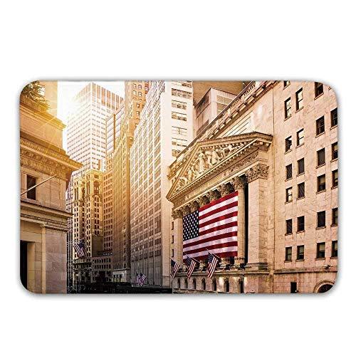 Kinhevao Rutschfester Gummieingangsteppich Vereinigter Staaten, berühmte Börse des Wall Street Building-New York mit Flaggen-städtischer Fußmatte für Haustür -