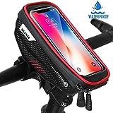 Faneam Sacoche Vélo Cadre Etanche Sacoche Guidon Vélo avec Écran Tactile, Support Vélo Téléphone Pochette Velo Guidon pour iPhoneXS Max/XR/X/8Plus/Samsung S9/S8 jusqu'à 6.5' Smartphone, Rouge
